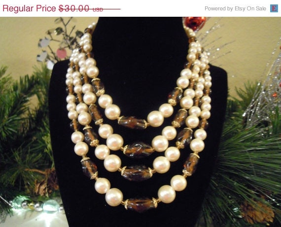 30% Off Sale Vintage Art Glass Necklace Japan Statement Multi Strand Gold Metal Faux Pearl Brown Art Glass Bib - TallulahsVintage