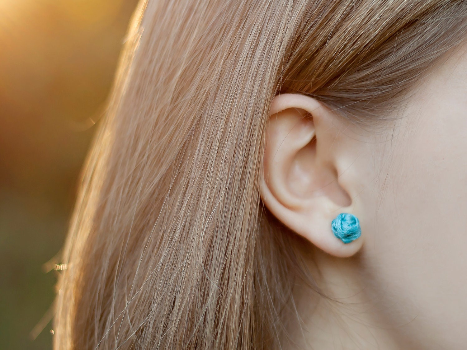 Rosebud Knotted Earrings in turquoise