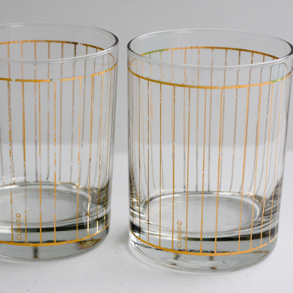 Vintage Culver Glasses - Vintage Cocktail Glasses, Highball Glasses
