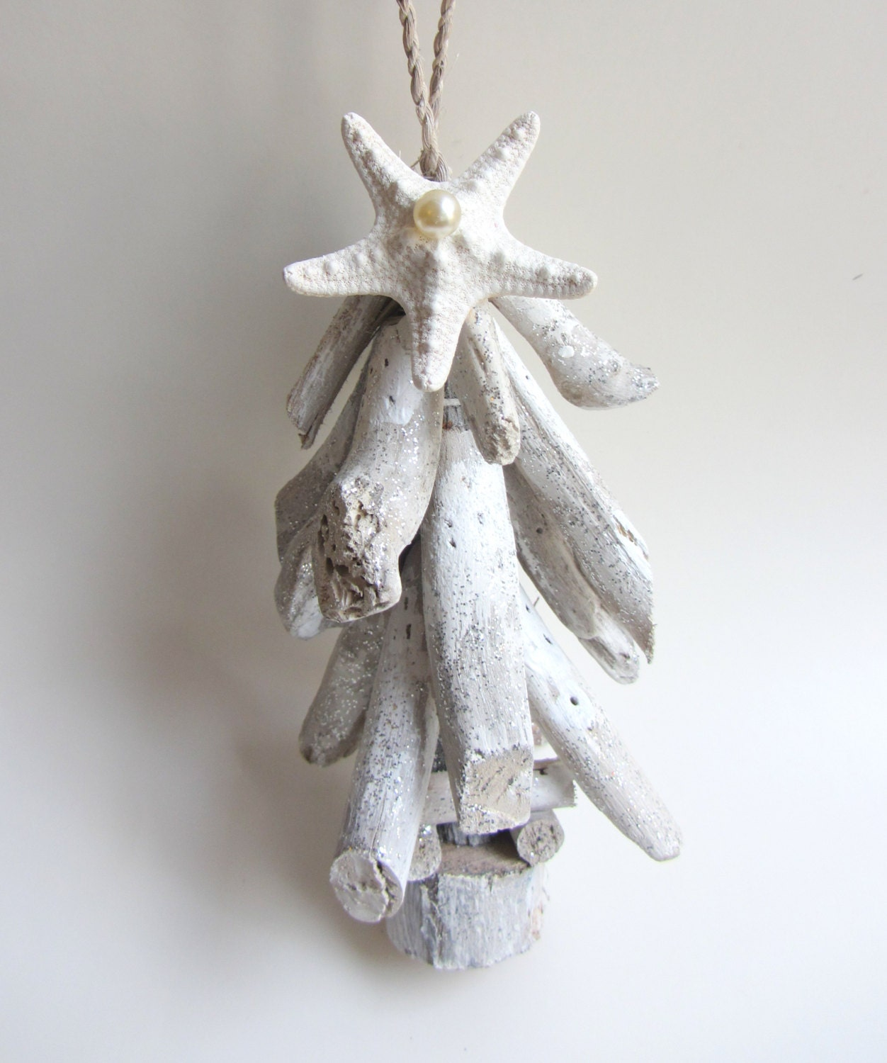 Driftwood christmas tree holiday ornament beach by cereusart for Hanging driftwood christmas tree