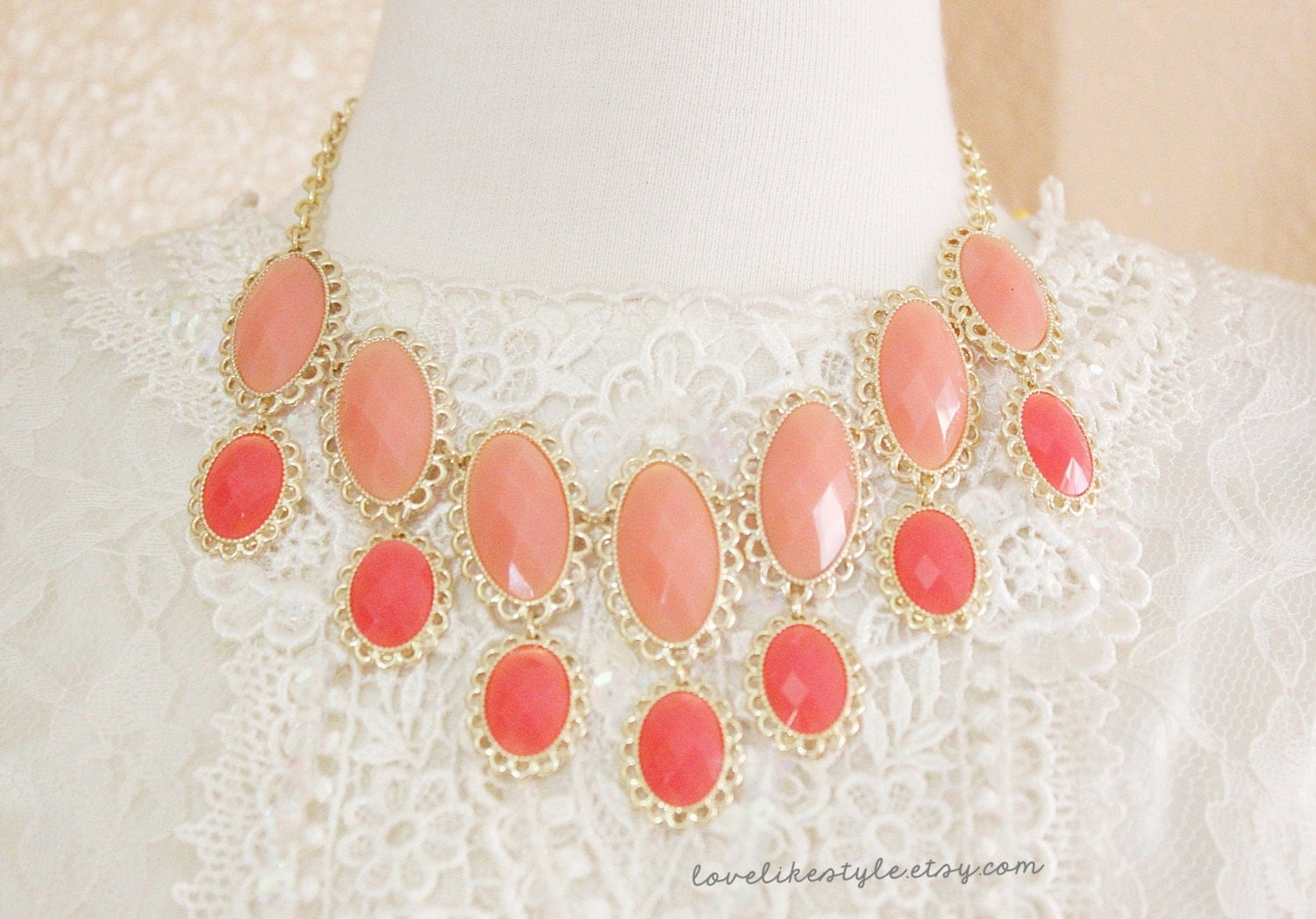 Peach and Coral Stone and Gold Lace Edge Statement Necklace , Bib Necklace, Peach Necklace