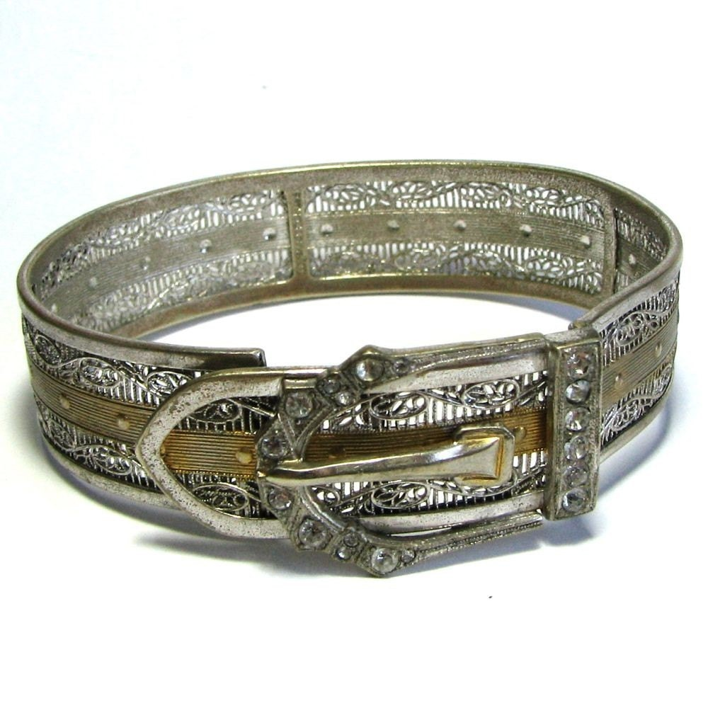 Art Deco  Filigree Buckle Bracelet - Symbol of Love Loyalty and Strength - Two  Toned Silver and Gold with Rhinestones - SIGNED - Made by JJ White in  1933