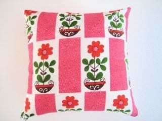 Vintage 70s fabric cushion pillow