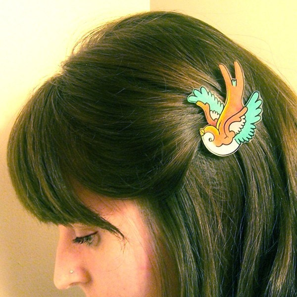 Pink and Tan Swallow Tattoo Hair