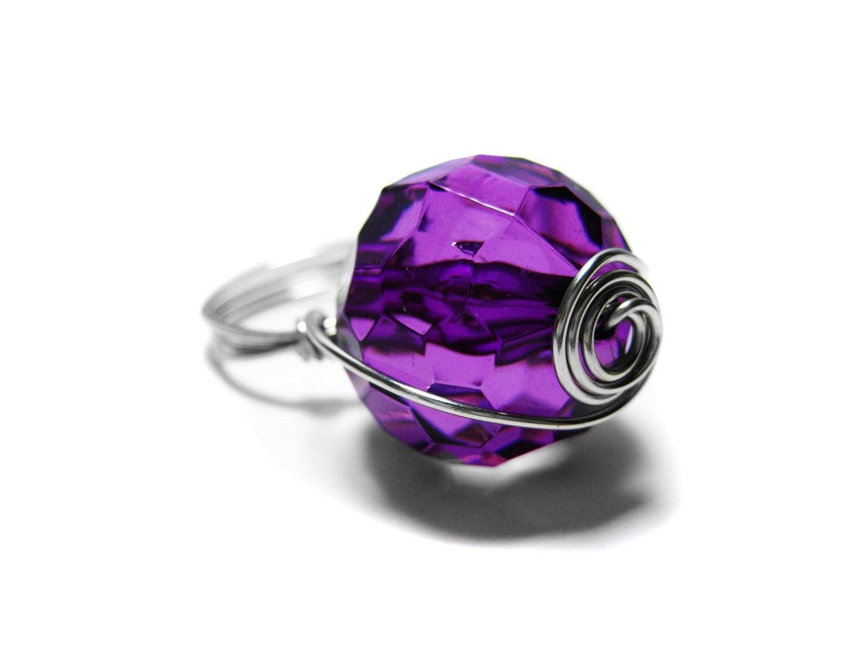 Fio Espiral roxo e prata Wrapped Ring.  Jóias feitas à mão por pila12903 na Etsy