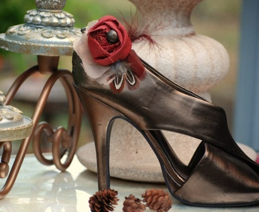 Shoe Clips Set Harvest leaf rust Ringneck pheasant with feathers, Etsy handmade, jewelry accessories, Spring Summer Wardrobe on Sofisticata, Sepia Sienna Auburn Almond Bronze, Custom Colors, Bride Bridesmaid Bridal m2m