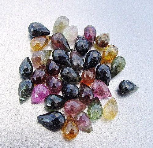 Christmas in July SALE - 30 p refund...Multi Color Gem Watermelon Tourmaline Faceted Briolette Drop Beads 36ct