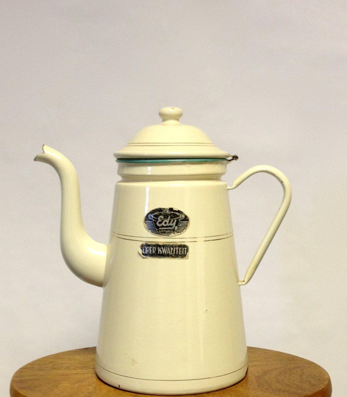 Cream Enamel Coffee Pot, Rustic Home Decor, Vintage Coffee Pot - TheHayLoftAntiques