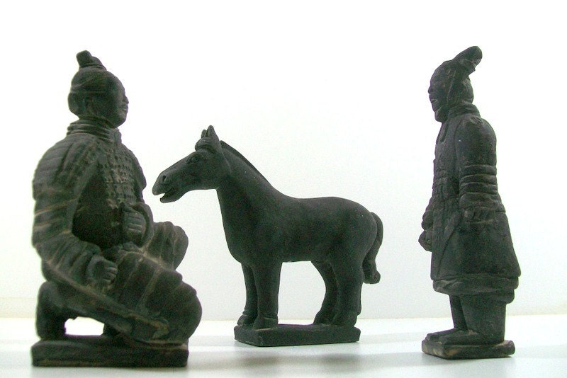 Vintage Terra Cotta Emperor Shi Soldiers and Horse Figurines - 4EnvisioningVintage