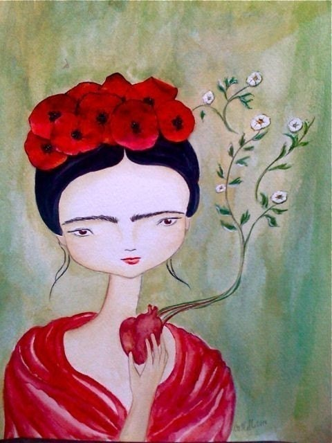 Frida  Kahlo with poppies 8x10 art print. Archival print of my mixed media  painting