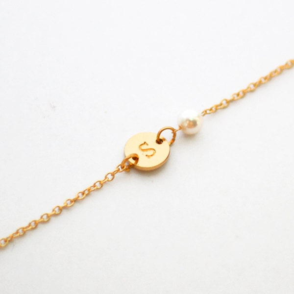 gold initials bracelet with pearls letter bracelet by