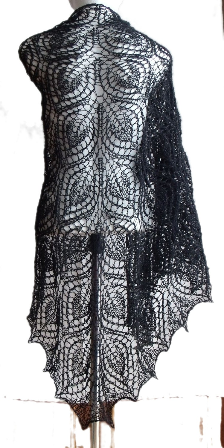 Black Pearl big lacy exclusive ellegant handmade shawl - MyLaceSpace