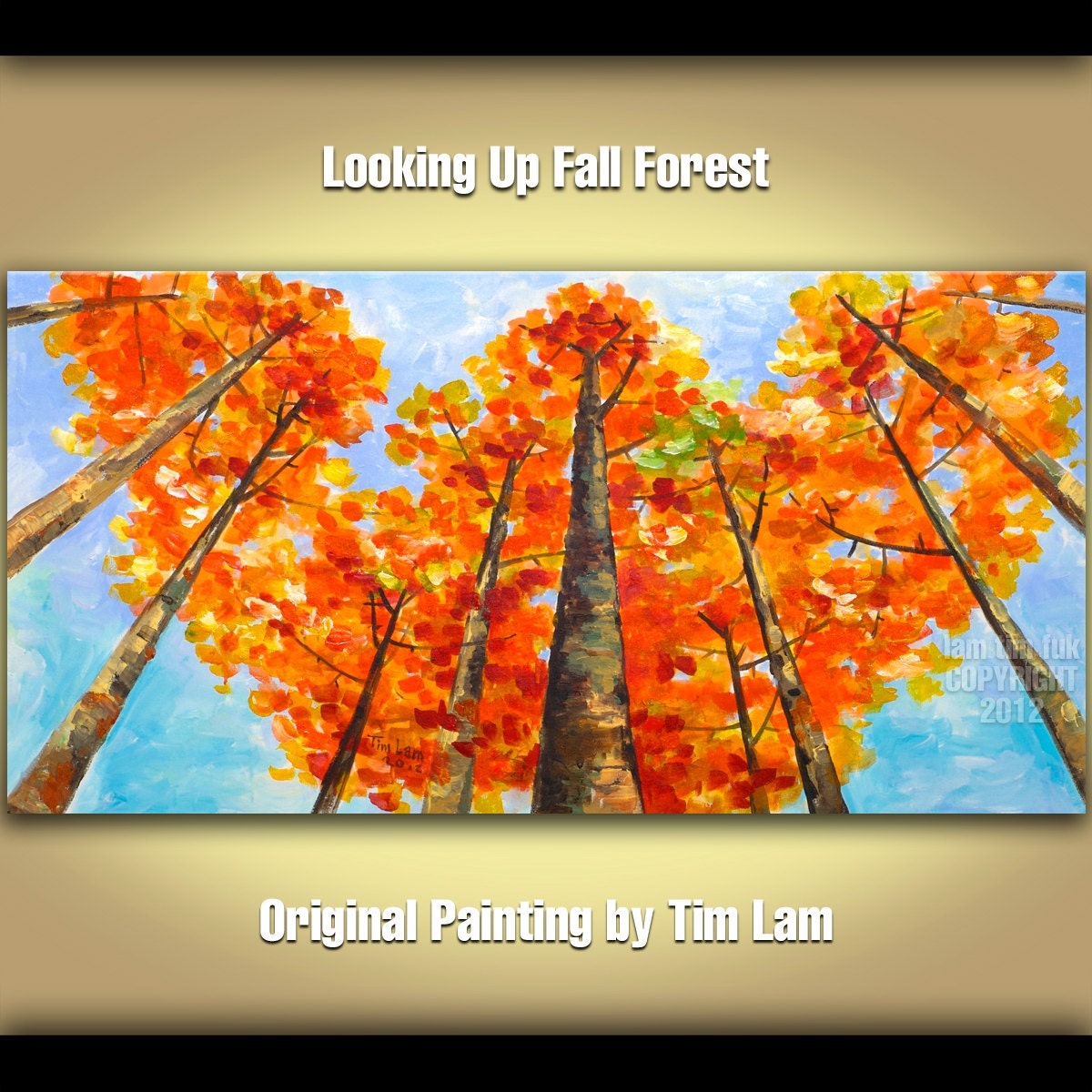 Abstract Landscape Painting Looking Up Forest Original huge modern acrylic on canvas by Tim Lam 48x24x1.3 - elseart