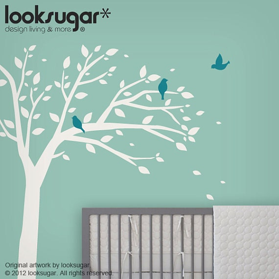 Bird Tree Wall Decal for Baby Nursery - 0068