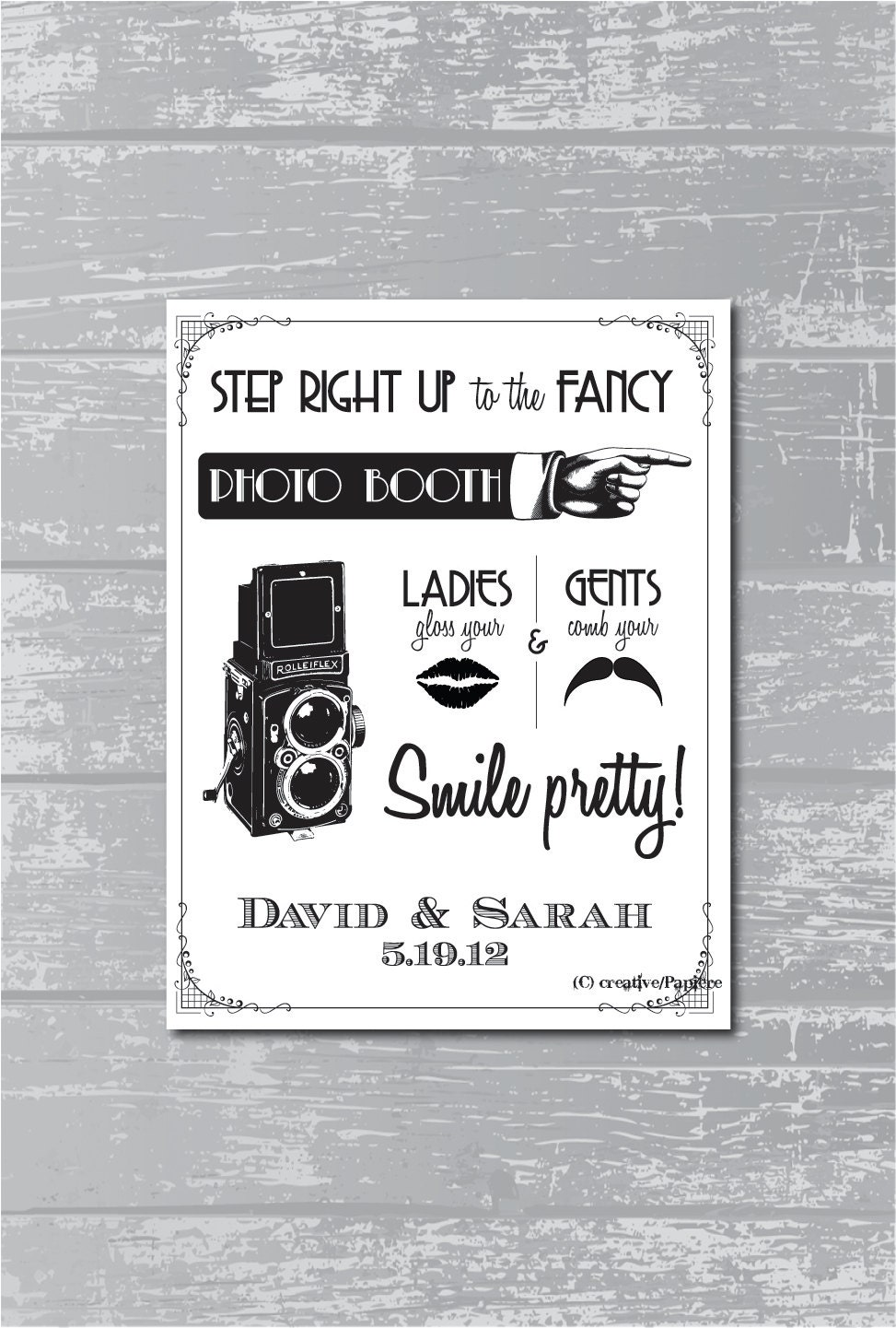 CYBER MONDAY Etsy - Custom Art Deco Photo Booth Sign DIY Wedding Poster Printable... Black