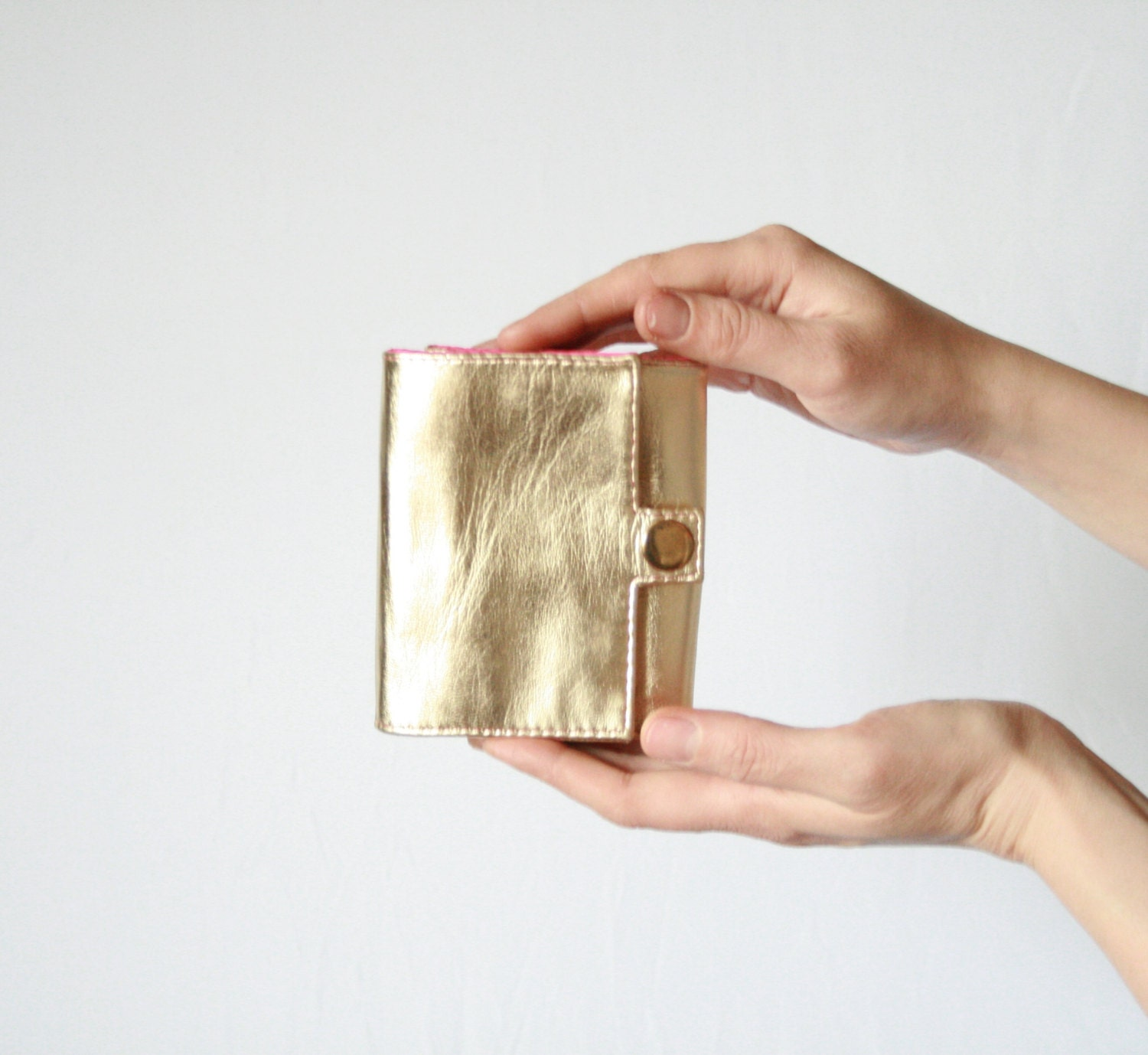 Gold Leather Wallet, Gold Leather Purse, Gold and Pink Leather Wallet, Small Wallet, Retro Style Wallet, Genuine Leather Wallet - KaroEva