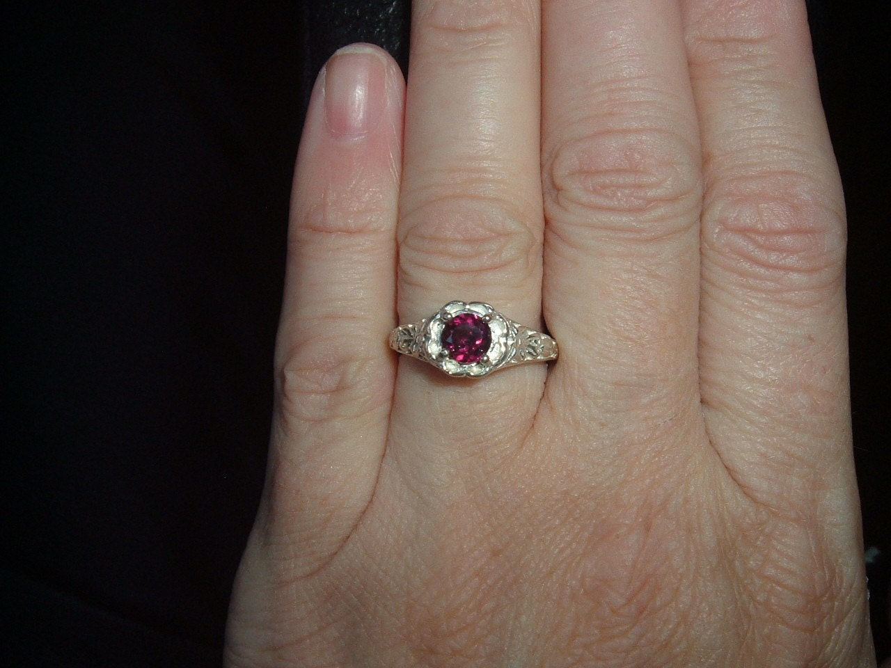 SS Garnet Ring, with fancy design