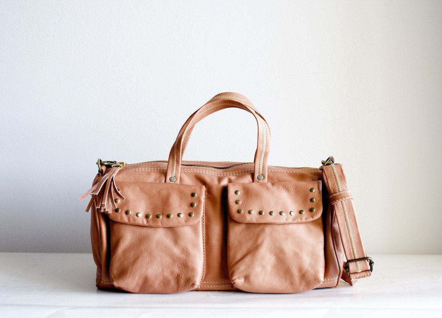 The Barrel Bag in Peach w/ studs