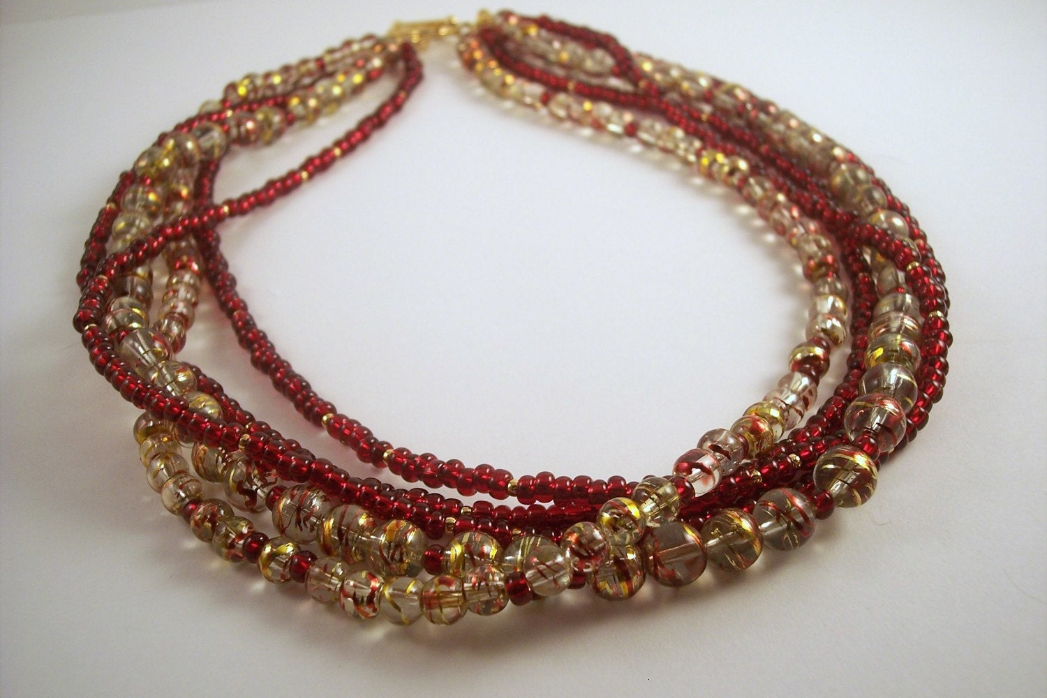 Red & Gold Multi-Strand Necklace