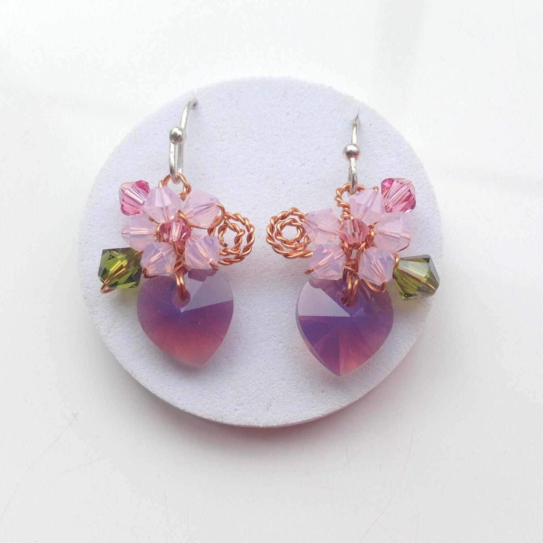 Amethyst dangle earrings   small earrings  earrings in purple  crystal floral earrings  heart earrings