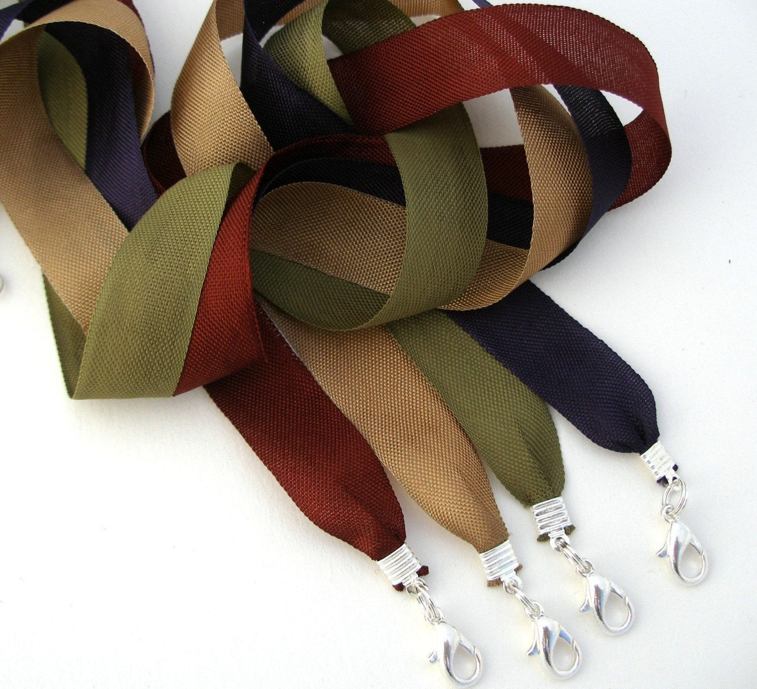Necklace Cords Wide ribbon 6pc - Any length 6 colors Made to order