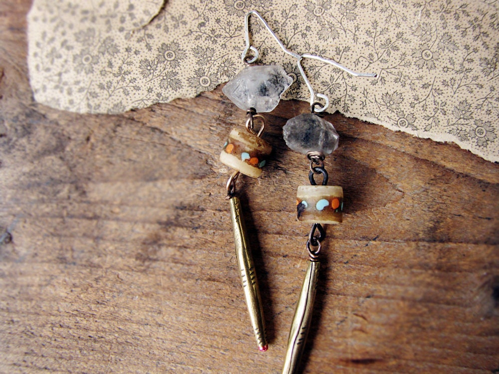Nazca - rustic artisan earrings - reclaimed brass - quartz crystal - Tibetan mala