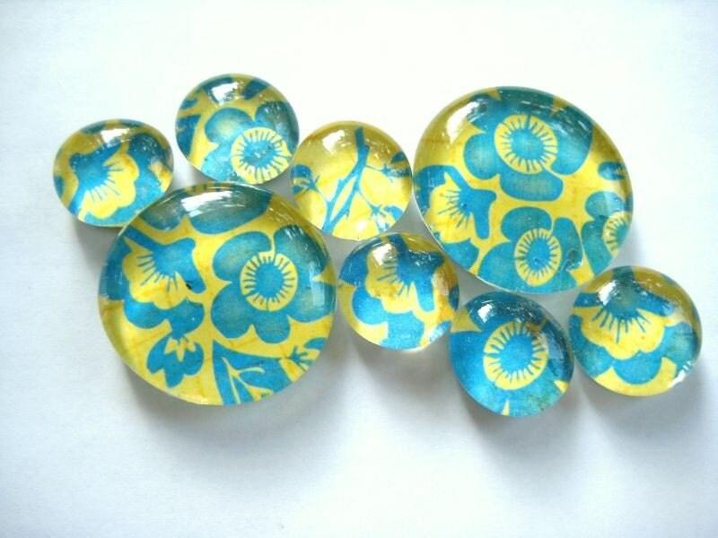 Floral Aqua - marble magnets
