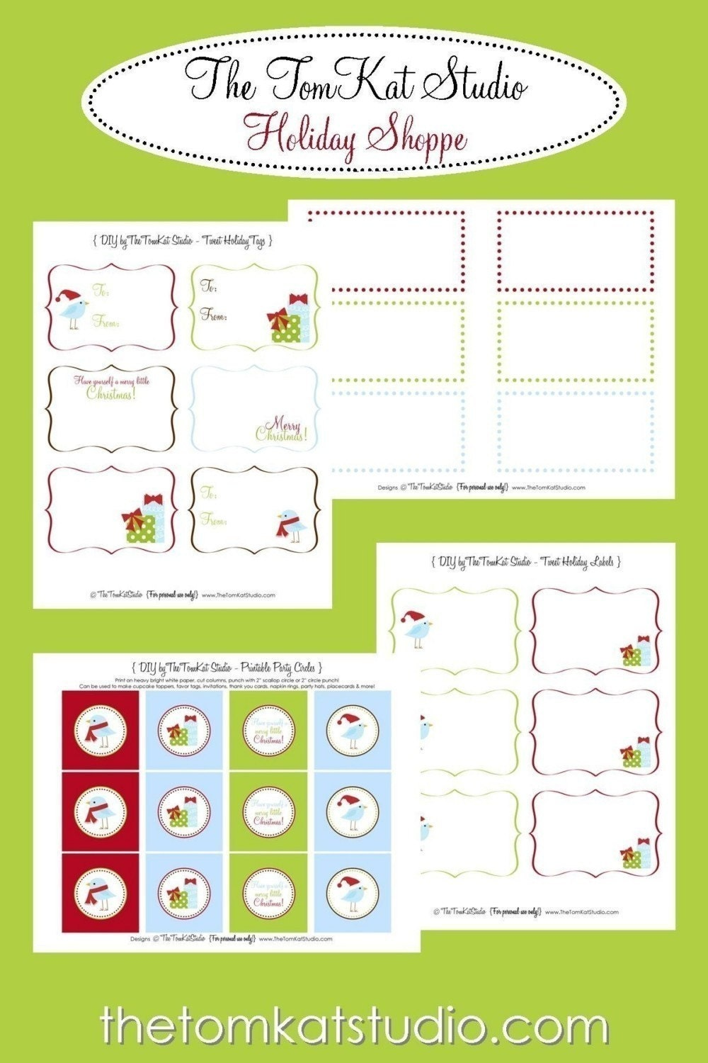Gift Tags - Printable Tweet Holiday Package - The TomKat Studio