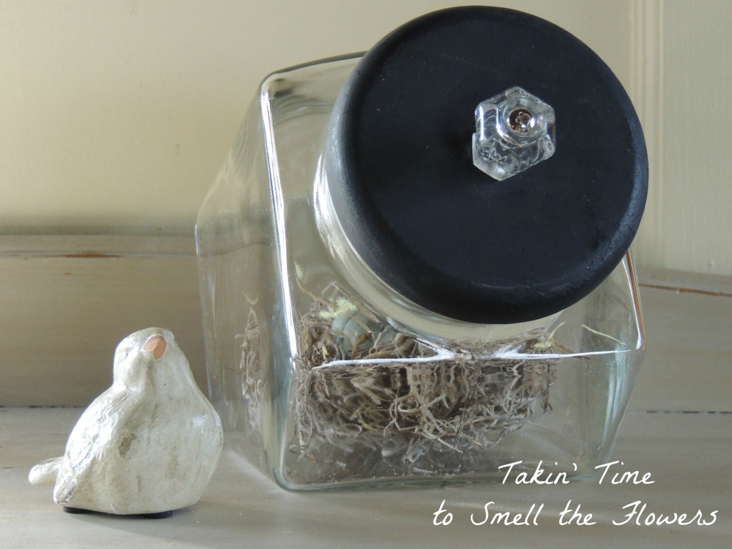 farmhouse glass canister with black wooden lid and by takintime. Black Bedroom Furniture Sets. Home Design Ideas
