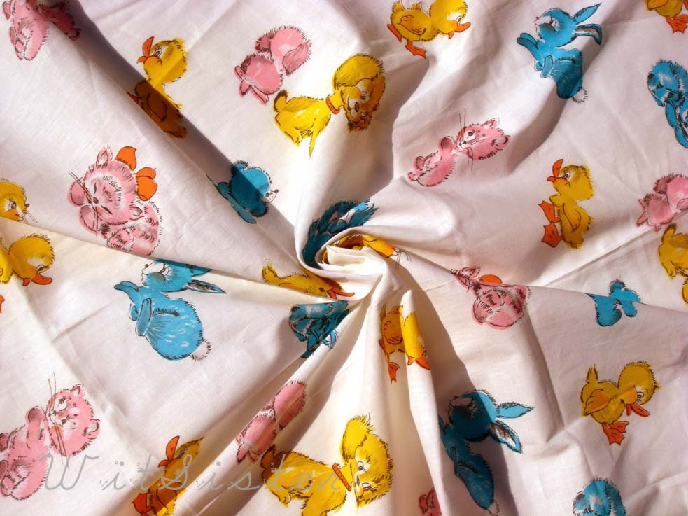 Cute vintage baby animal fabric pup bunny dog duck by for Retro baby fabric