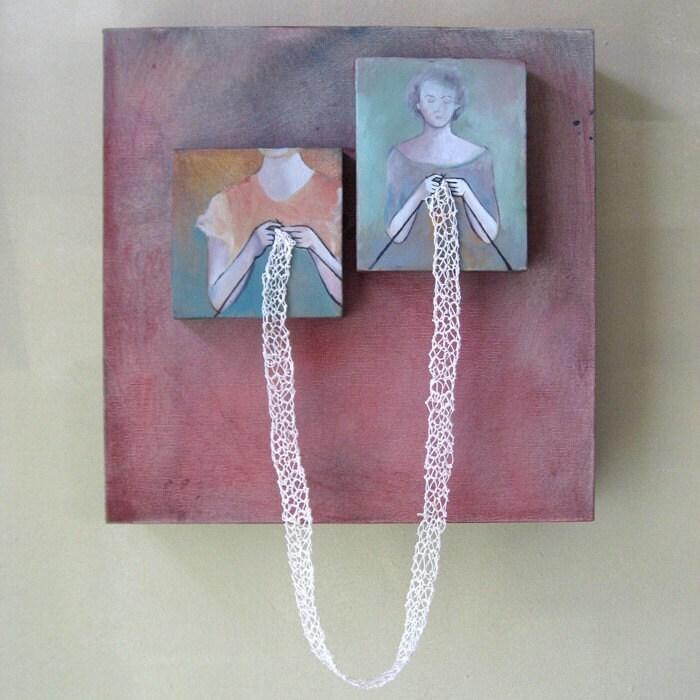Knit XXXXVII .  Mixed Media Oil Painting . Rania Hassan . 2008