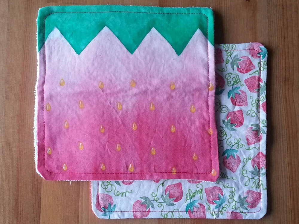 Handpainted Handkerchief with terry towel backing - Strawberry Fields - Wongkielala