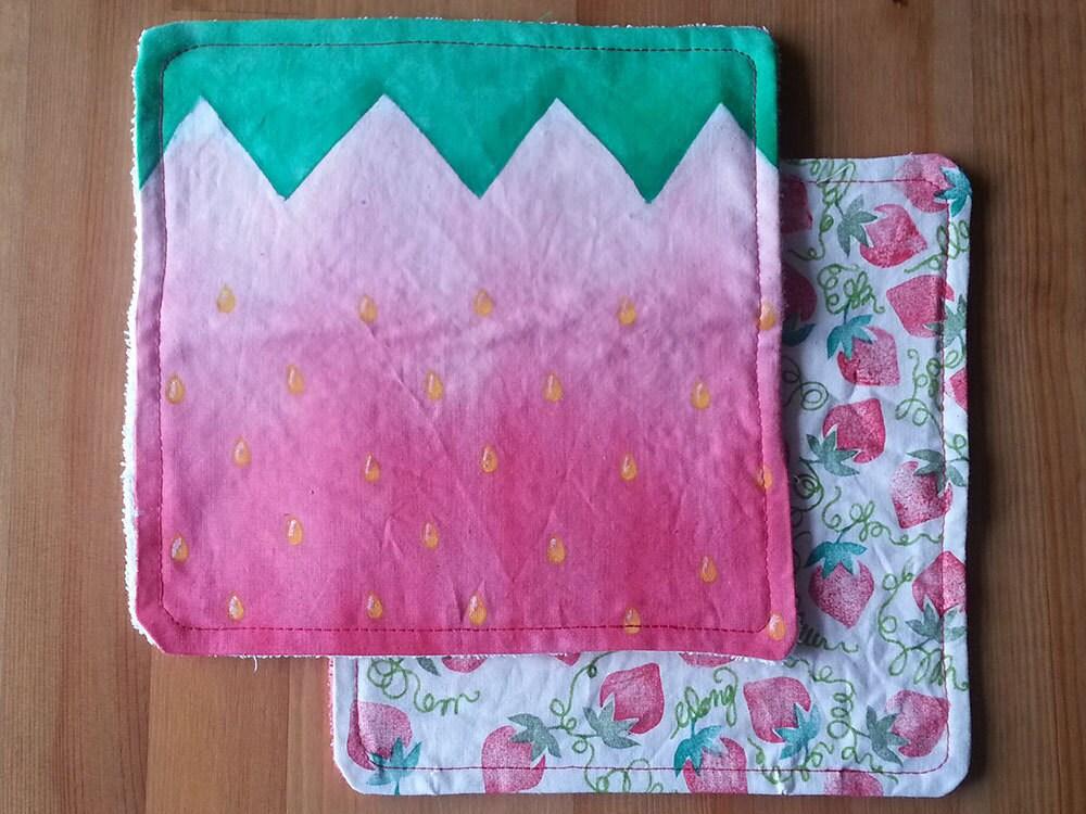 Handpainted Handkerchief with terry towel backing - Strawberry Fields - Wongkielala