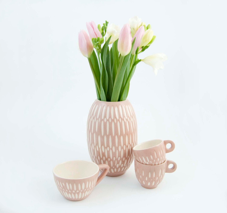 Ceramic stoneware vase unique handmade flower by imkadesign for Handmade flower vase with waste material