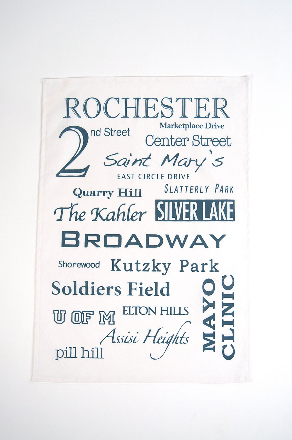 Hand Printed Cotton/Linen Tea Towel, Rochester in Marine