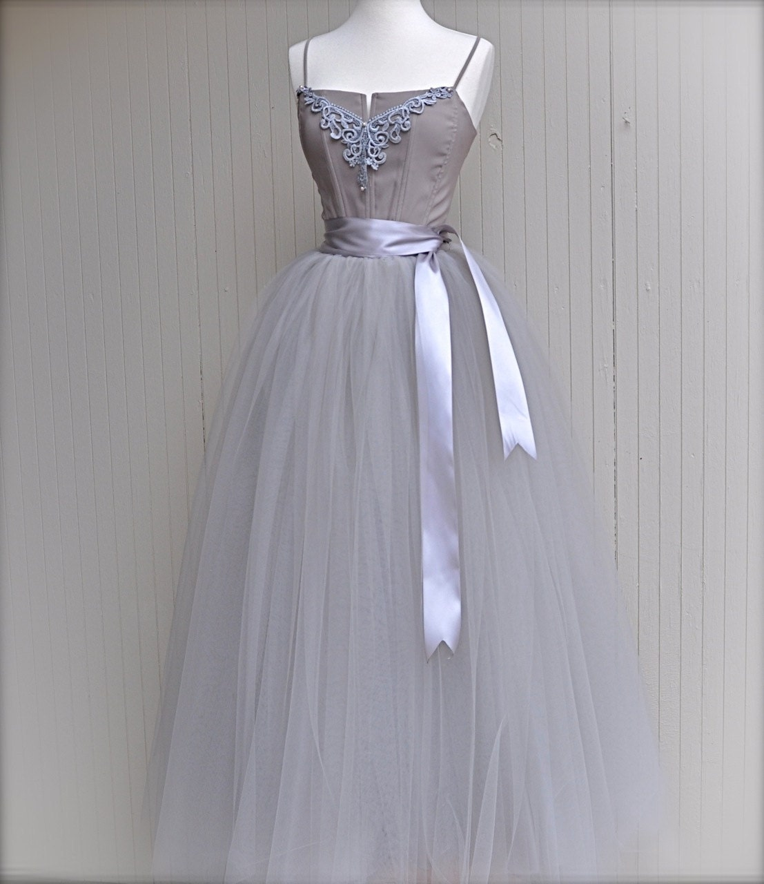 Full length silver grey tulle skirt dove by for Gray dresses to wear to a wedding