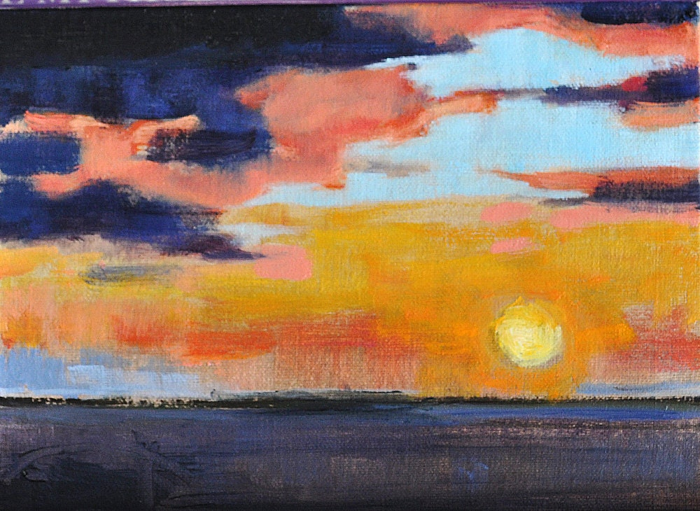 San Diego California Sunset Pacific Original Landscape Ocean Painting by Kevin Inman Art