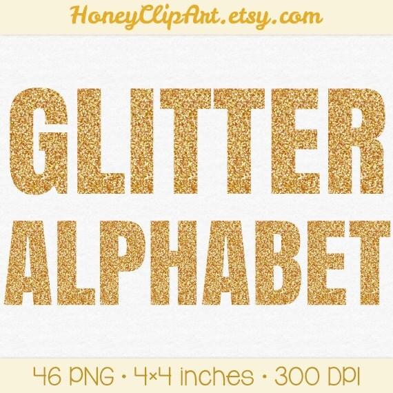 Gold Glitter Letter Clip Art, Metallic Alphabet Clipart, Gold Glitter ...