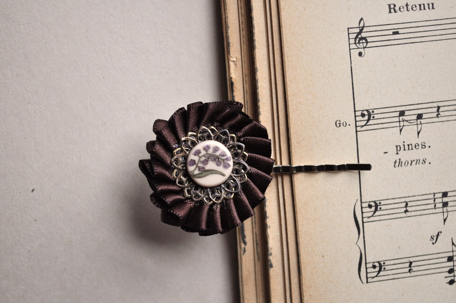 vintage inspired chocolate brown flower hairpin