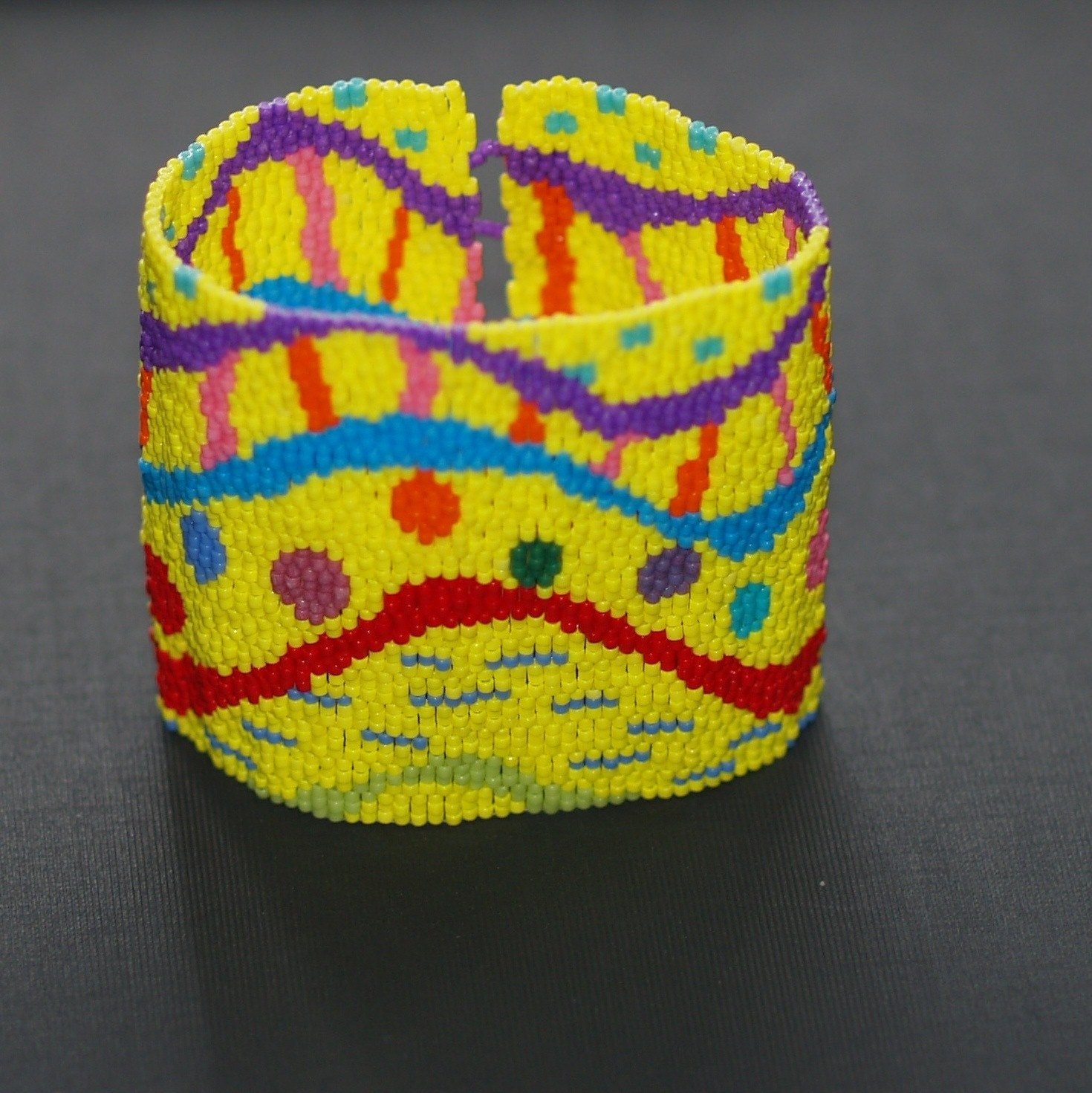 Celebration - Super Wide Beadwoven Peyote Cuff (3085)