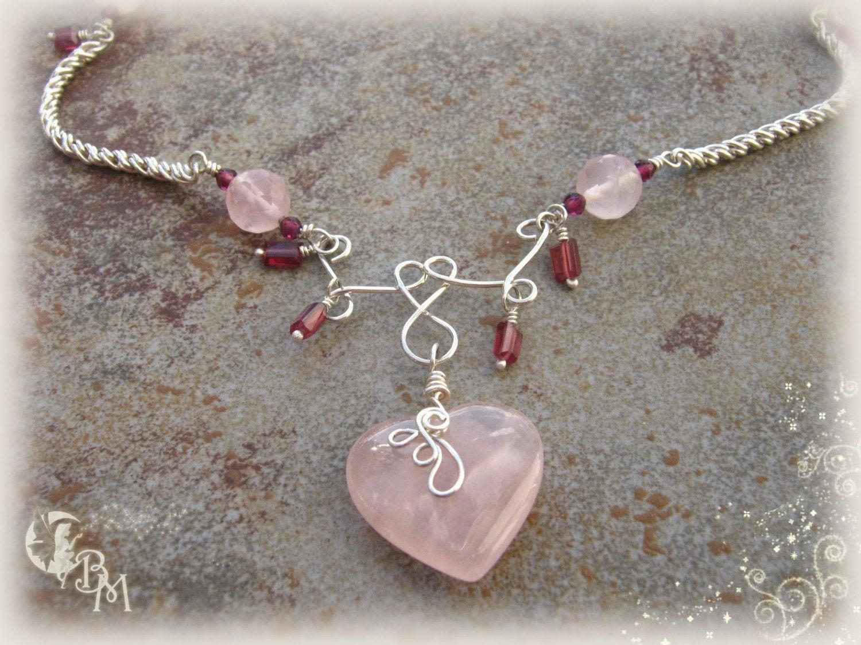 Wire Sculptured Rose Quartz Heart Necklace