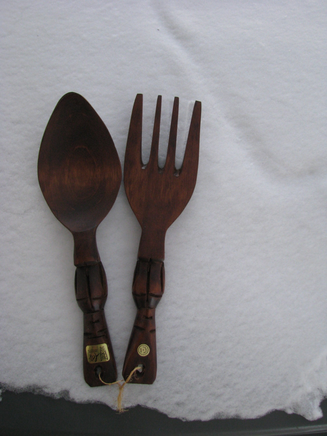 Vintage Carved Wooden Tiki Spoon And Fork Wall Decor By