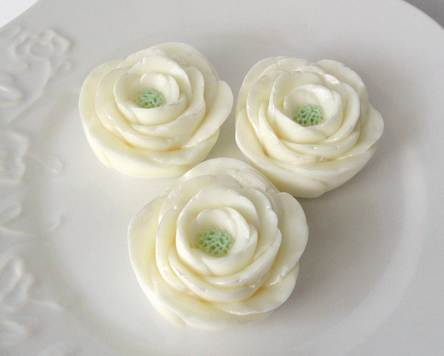 Lovely White Rose Trio-Goat's Milk Soap-Sweet heart Rose Scented