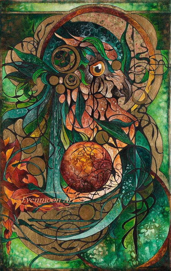 Fantasy Art Nouveau Painting - Verdantis, Keeper of Earth (11 X 14)