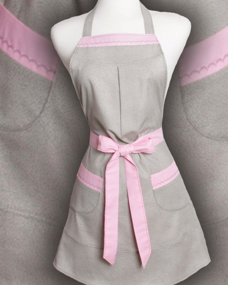 Vintage inspired Apron a Retro Style Gray on Gray spots trimmed in solid Pink