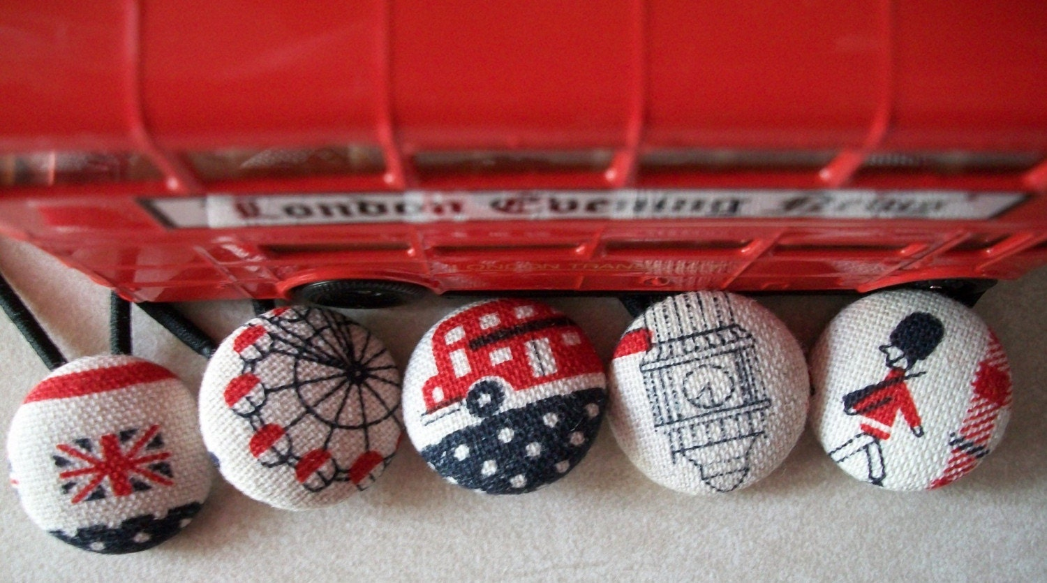 i spy with my london eye fabric button ponytail holder set of 2