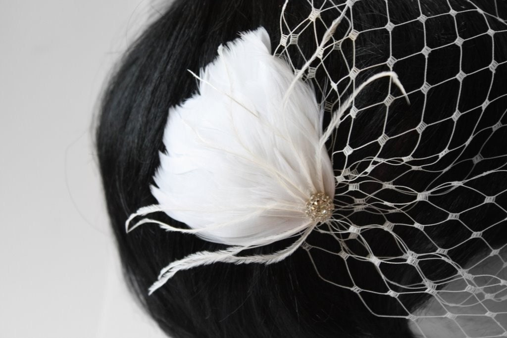 SHANNON  White Feather Hair Clip with Rhinestones by VieModerne from etsy.com