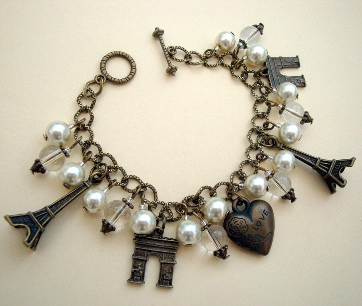 eiffel tower charm bracelet vintage by piratetreasures