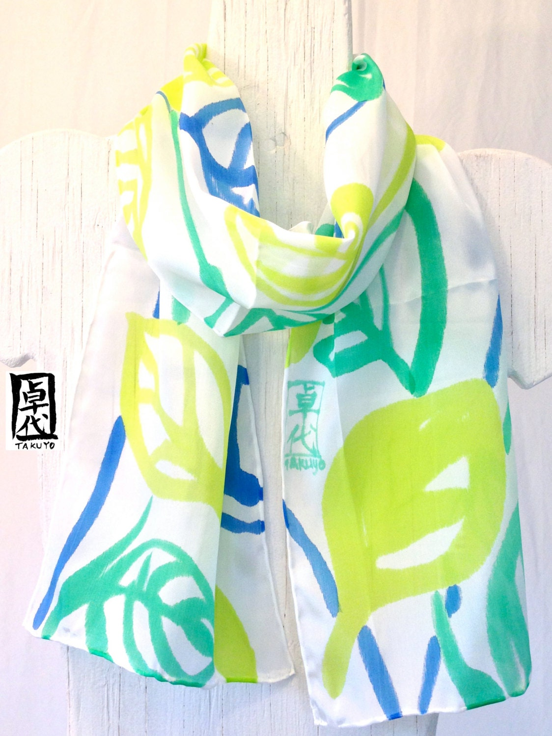 Handpainted Silk Scarf Floral. Green Vine Leaves Silk Scarf. Green Silk Scarf. Spring Fashion. Floral Scarf. 8x53 in.