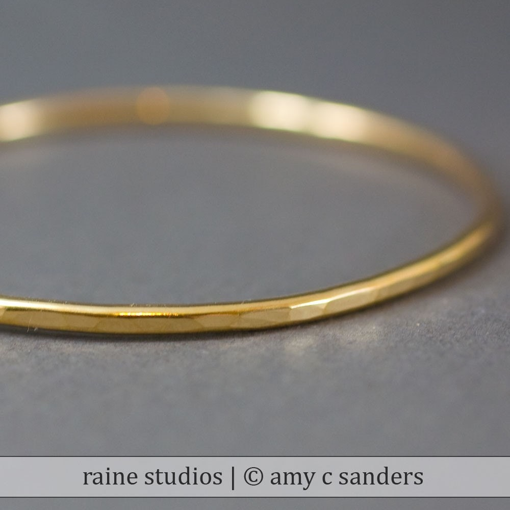 Thick Brass Hammered Bangle